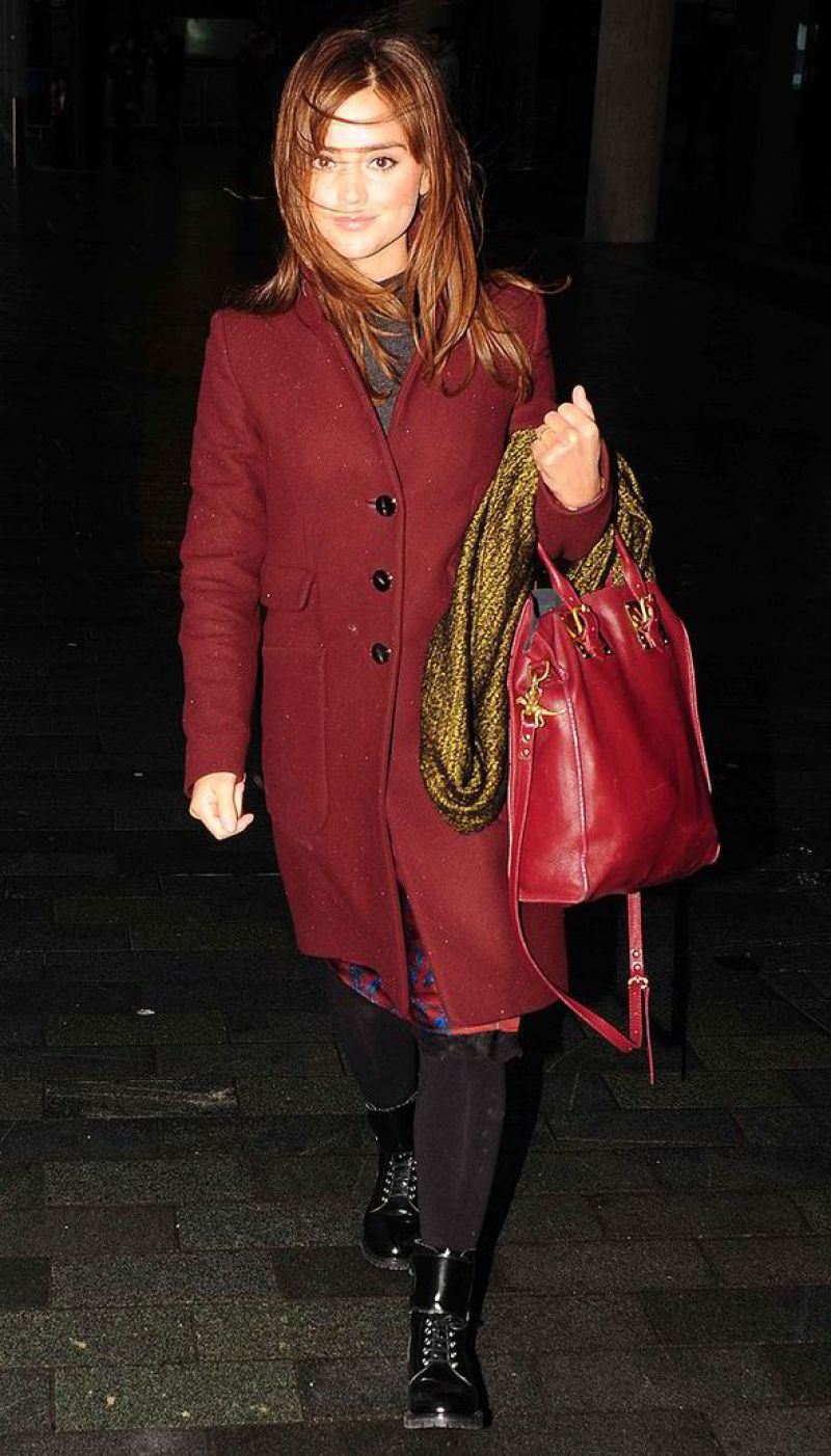 Jenna-Louise Coleman Street Style - BBC studios in London - December 2013