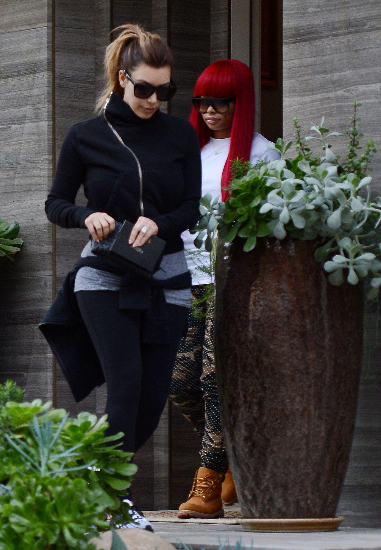 Kim Kardashian Street Style - Visits a Friend in Beverly Hills - December 2013