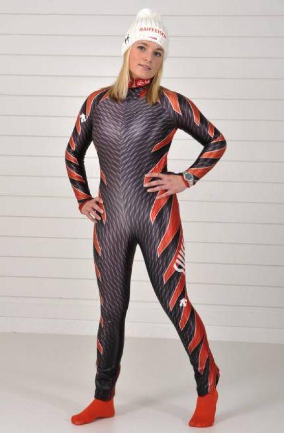 Lara Gut Descente Ski Overalls Photoshoot