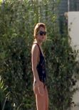 Lindsay Lohan in a Swimsuit at a Pool in Miami - December 2013