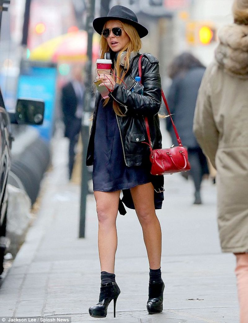 Lindsay Lohan Street Style - in Short Shirt Dress and Platform Heels in New York City - Dec. 2013