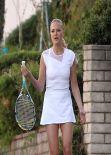 Malin Akerman in White Tennis Dress - On