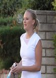 Malin Akerman in White Tennis Dress - On