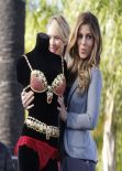 Maria Menounos and Candice Swanepoel - on the Set of EXTRA in Universal City - Dec. 2013
