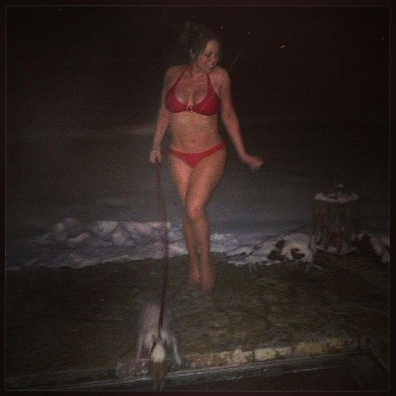 Mariah Carey in a Red Bikini - Aspen December 21st 2013