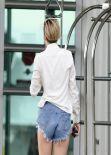 Miley Cyrus Street Style - In Denim Shorts in Miami - December 2013