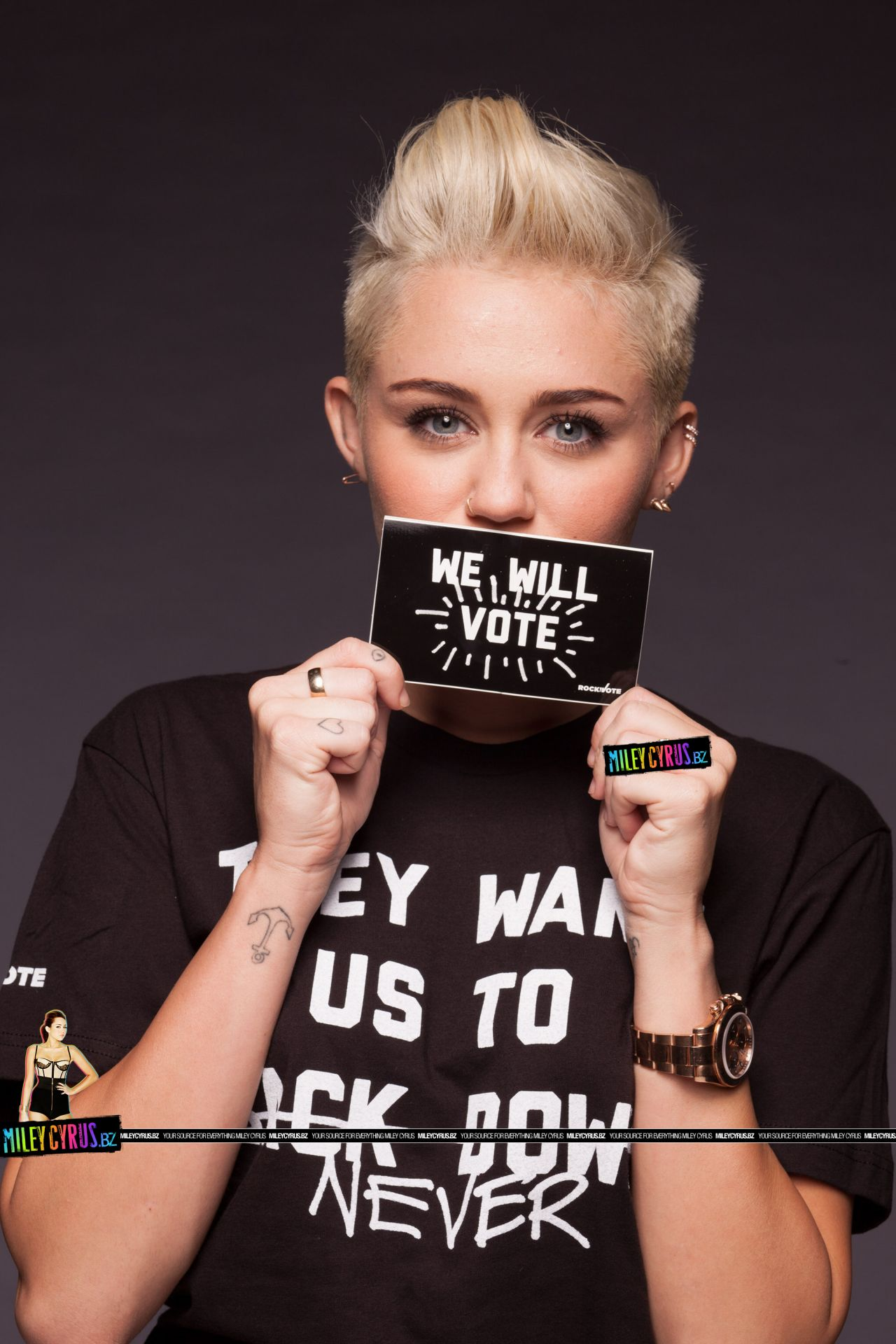 Miley Cyrus Wears Short Shorts Rock The Vote 2012 Photoshoot