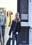 Millie Mackintosh Street Style - Out in Leather Pants in Chelsea - December 2013
