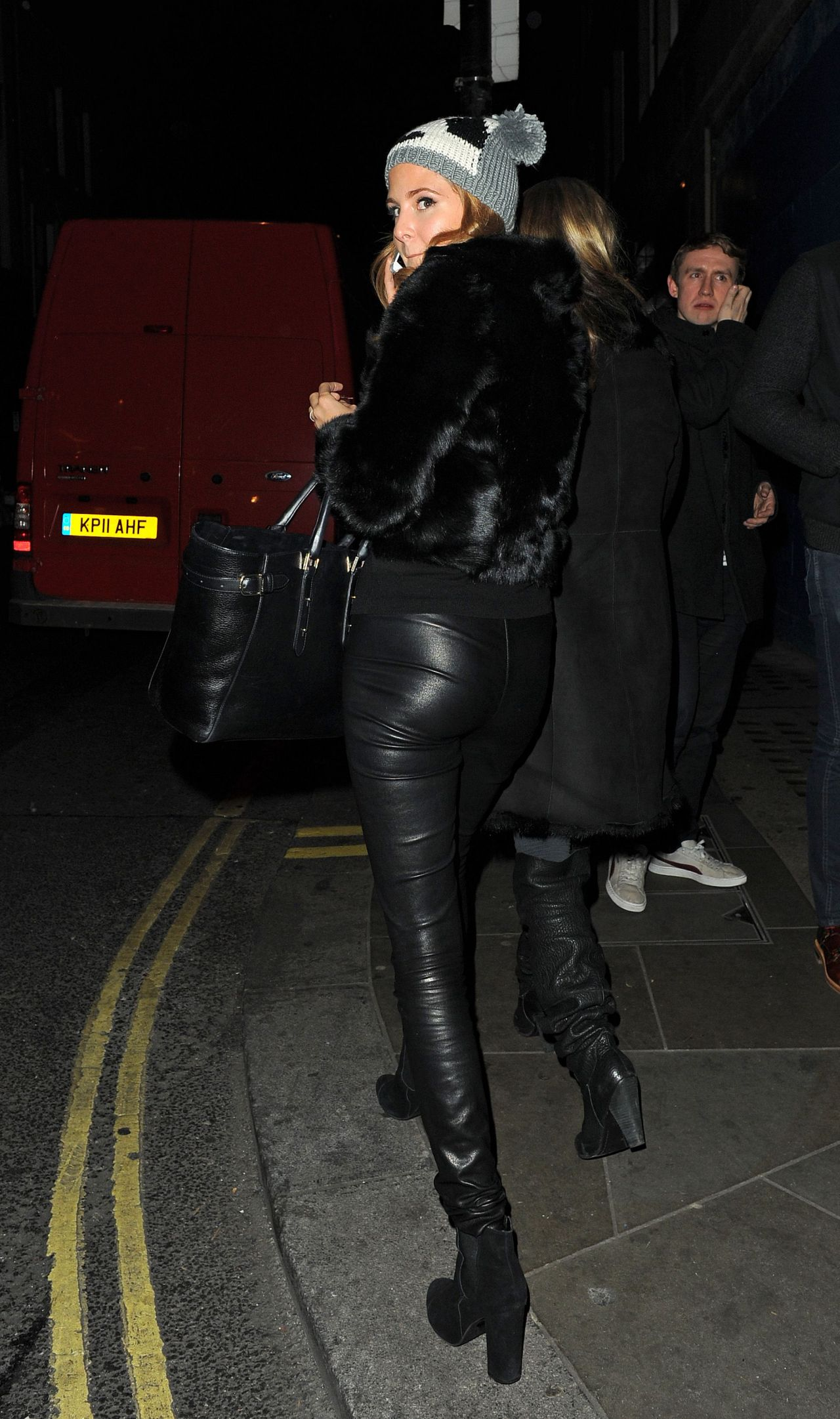 millie mackintosh street style out in leather pants in