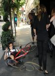 Nicole Kidman - Knocked down by Photographer on Bicycle after the Calvin Klein Show in New York City - September 2013
