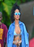 Rihanna in a Bikini at a beach in Barbados - December 2013