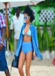 Rihanna in a Bikini at a beach in Barbados - December 2013