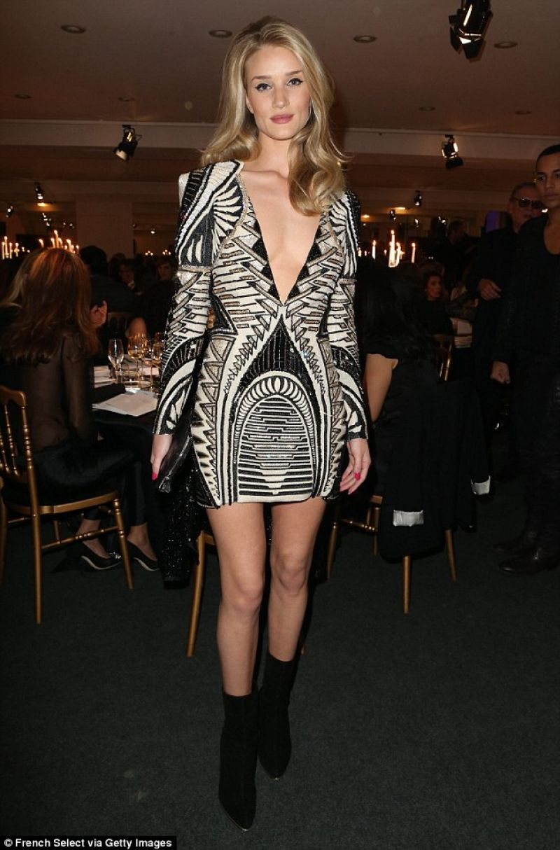 Rosie Huntington-Whiteley Style - in a Low Cut Beaded Dress at a Charity Dinner in Paris - Dec. 2013
