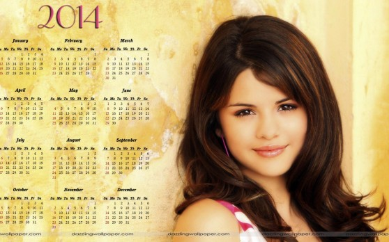 Selena Gomez 2014 Calendar Celebrity Wallpaper