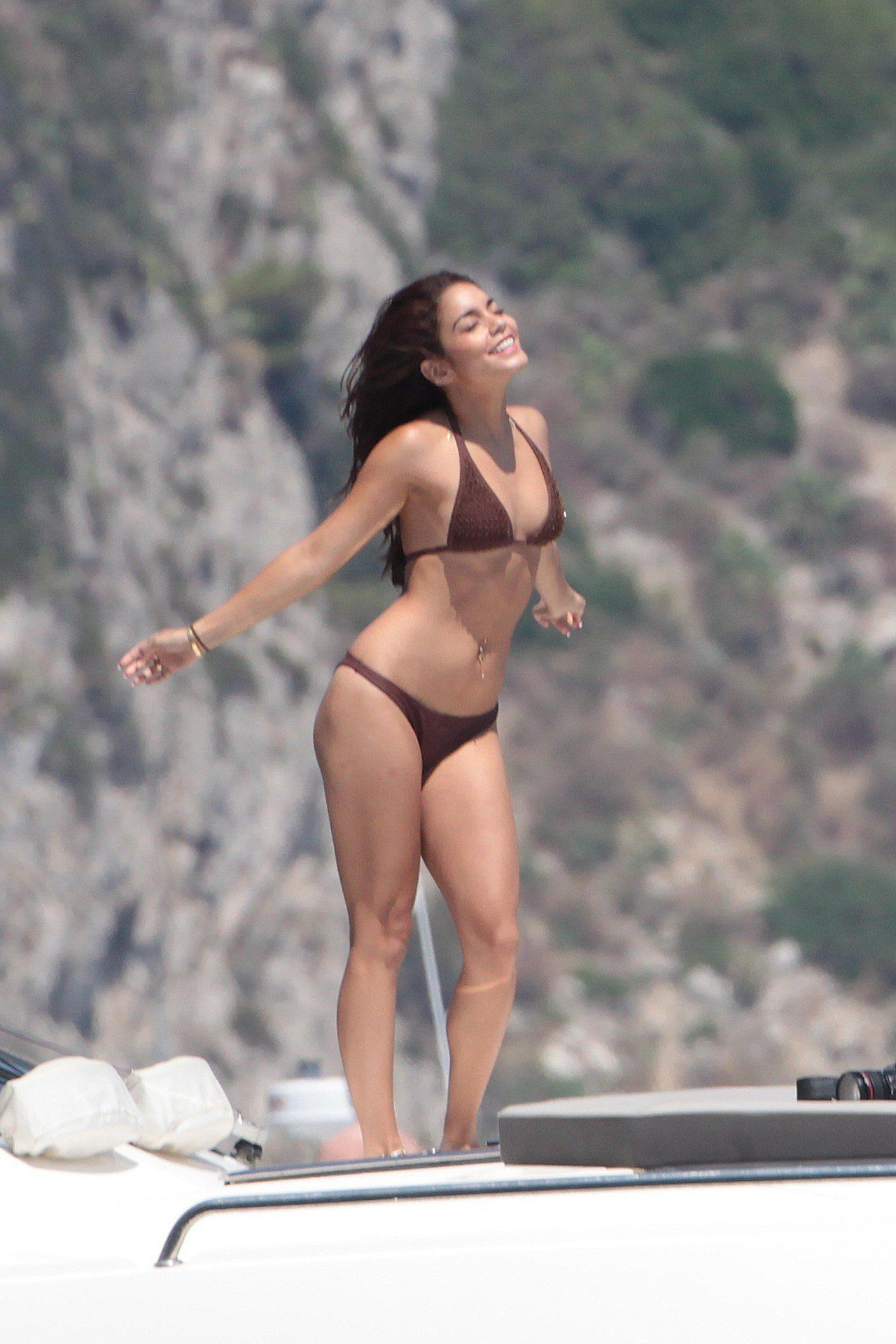Vanessa Hudgens in a Bikini – on a Boat in Ischia – 20+ Hi-Res Photos