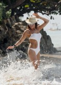 Lizzie Cundy in White Swimsuit - Beach in Barbados