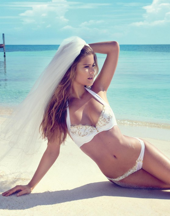 Nina Agdal Photoshoot - Beach Bunny Bride 2014