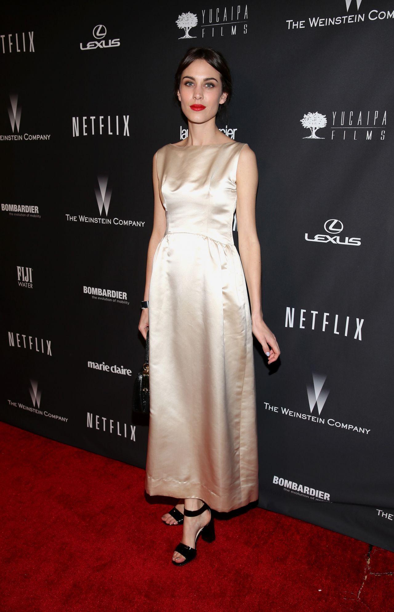 Alexa Chung Wears Vintage Balenciaga Dress At 2014 Golden