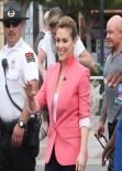 Alyssa Milano on the Set of EXTRA at The Grove in Los Angeles (2014)