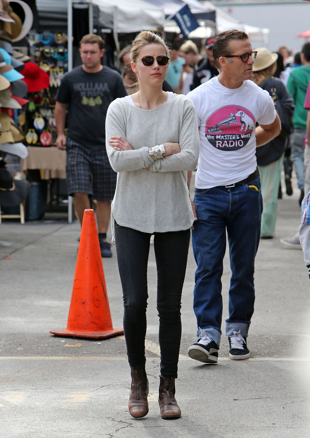 Amber Heard Street Style - Melrose Flea Market - January 2014