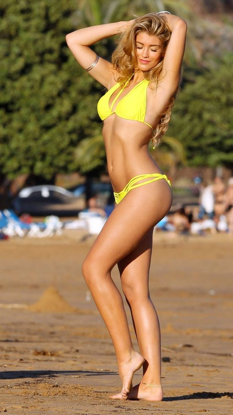 Amy Willerton in a Sexy Yellow Bikini, January 2014