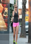 Amy Willerton Wears Pink Shorts - Morning Jog Along Sunset Blvd - Los Angeles, January 2014