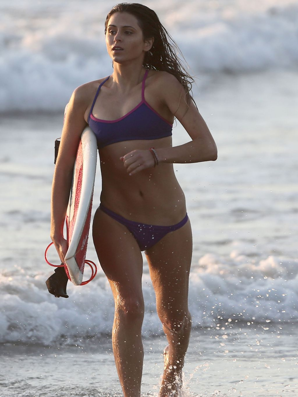 Anastasia Ashley Surfing in Bikini - Beach in Los Angeles, January 2014