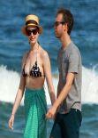 Anne Hathaway in a Bikini at a Beach in Hawaii - January 2014