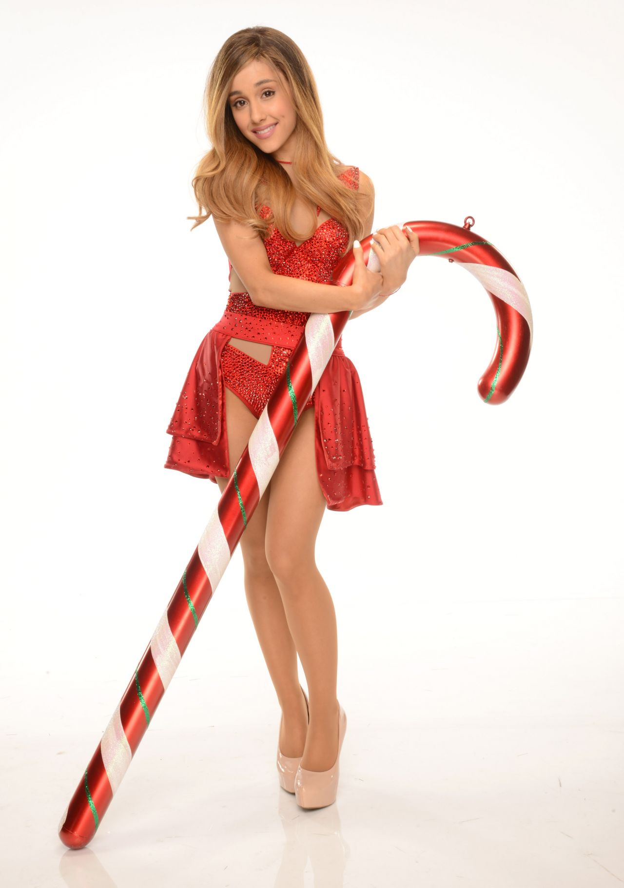 Ariana Grande Photoshoot - Leggy in a Christmas - December 2013
