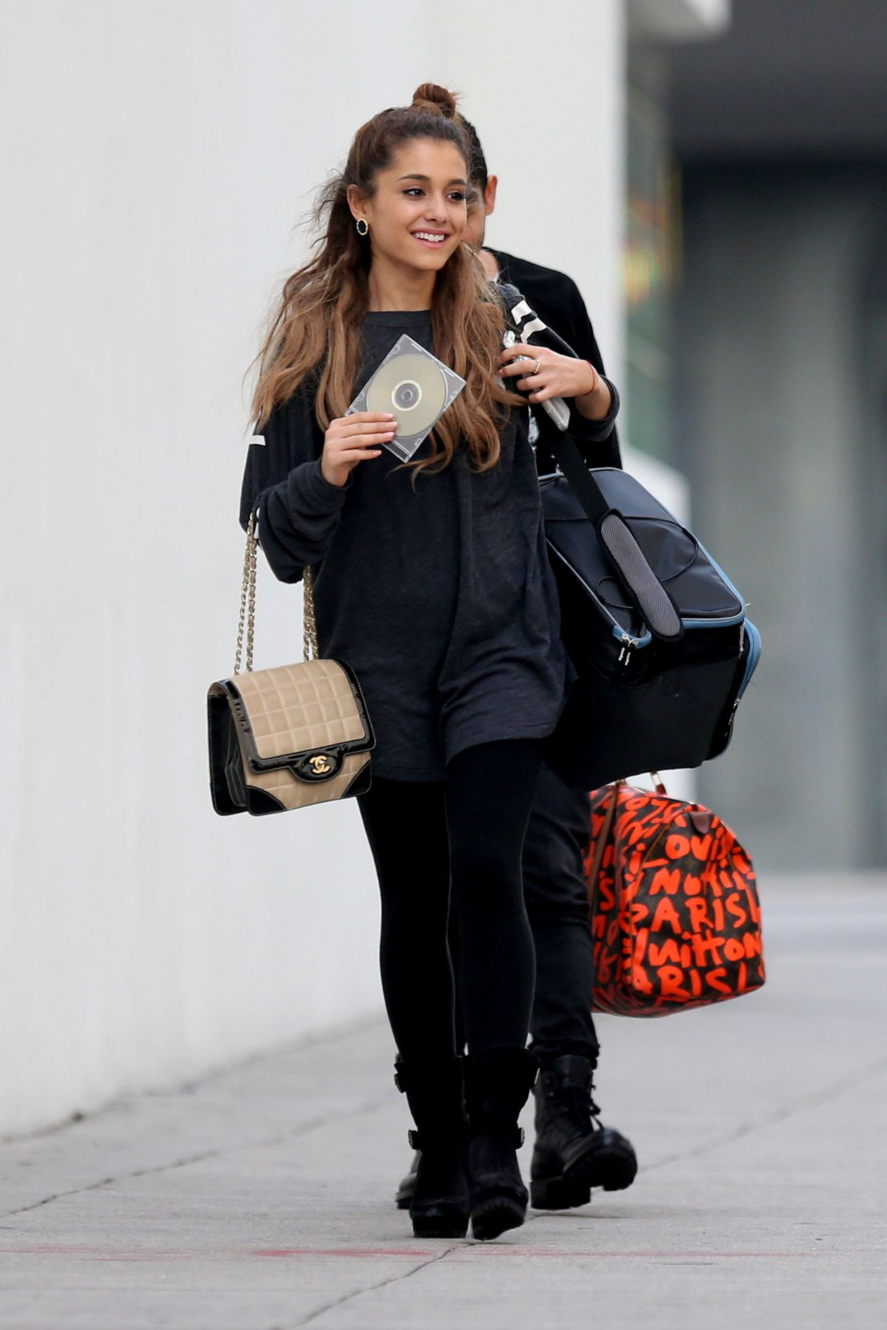 ariana grande street style  leaves a recording studio in