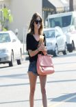 Ashley Benson Shows Off Her Legs in Short Denim Shorts - Out For a Cofee in Los Angeles - January 2014