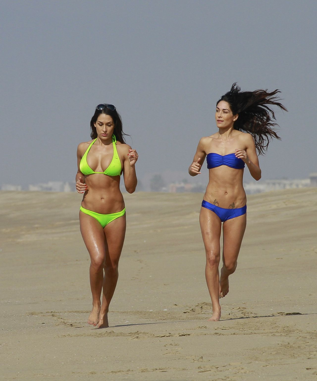 Bella Twins Brianna & Stephanie Garcia-Colace Bikini Candids - Los Angeles Beach, January 2014