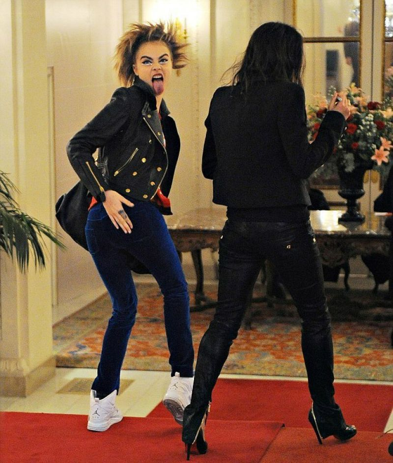 Cara Delevingne and Michelle Rodriguez Arriving at Hotel in Paris, January 2014
