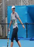 Caroline Wozniacki in Spandex - practice session in Sydney (2014)