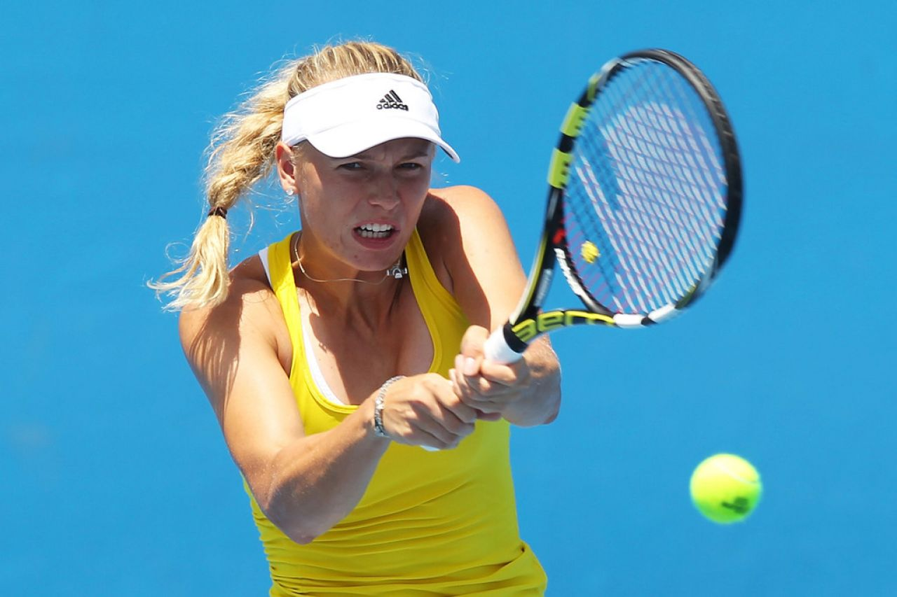 Caroline Wozniacki - Practice Session in Melbourne, January 2014