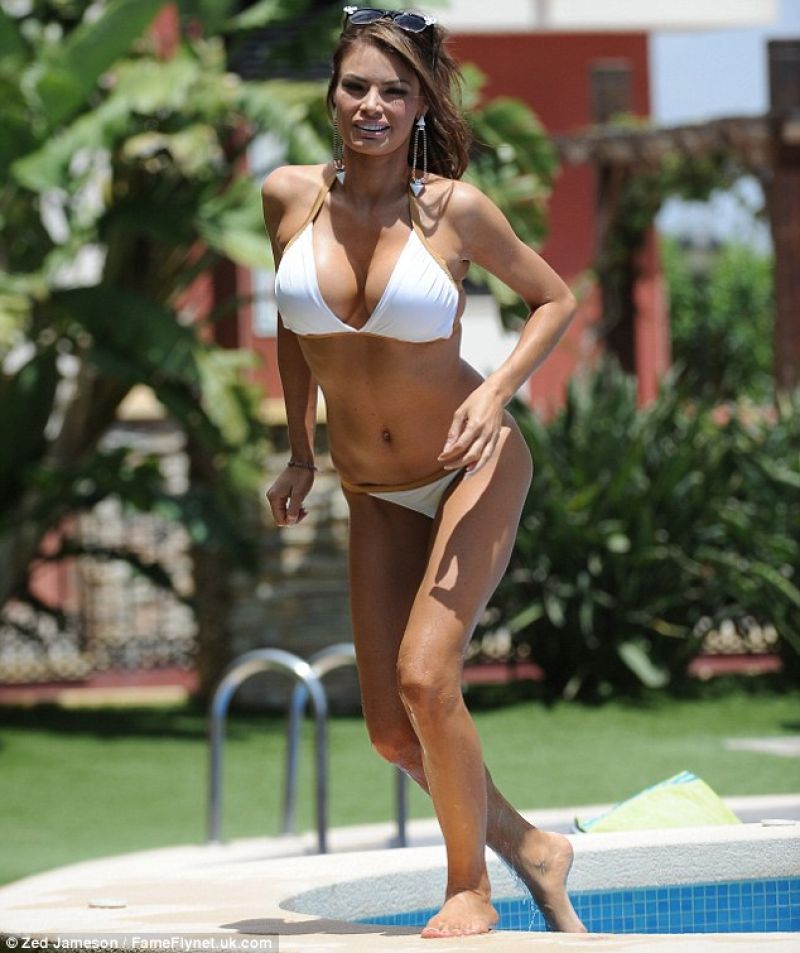 Chloe Sims in White Bikini - Villa in Alicante, Spain - January 5, 2014