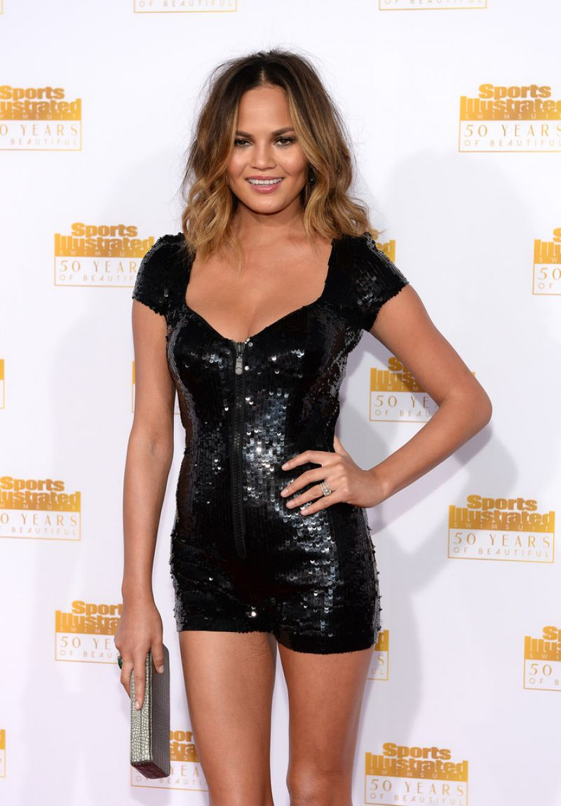 Chrissy Teigen at 50th Anniversary of the SI Swimsuit Issue in Hollywood, January 2014