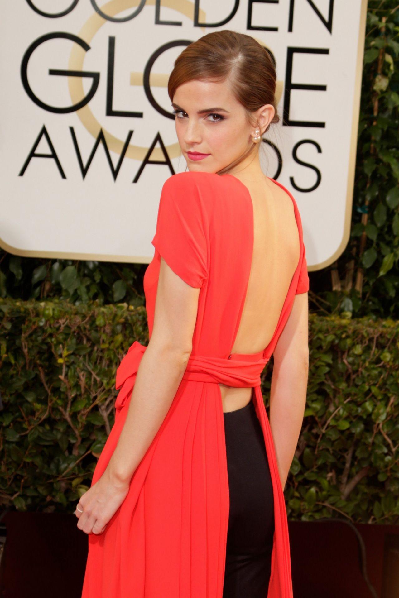 Emma watson wears christian dior couture at 2014 golden globe awards