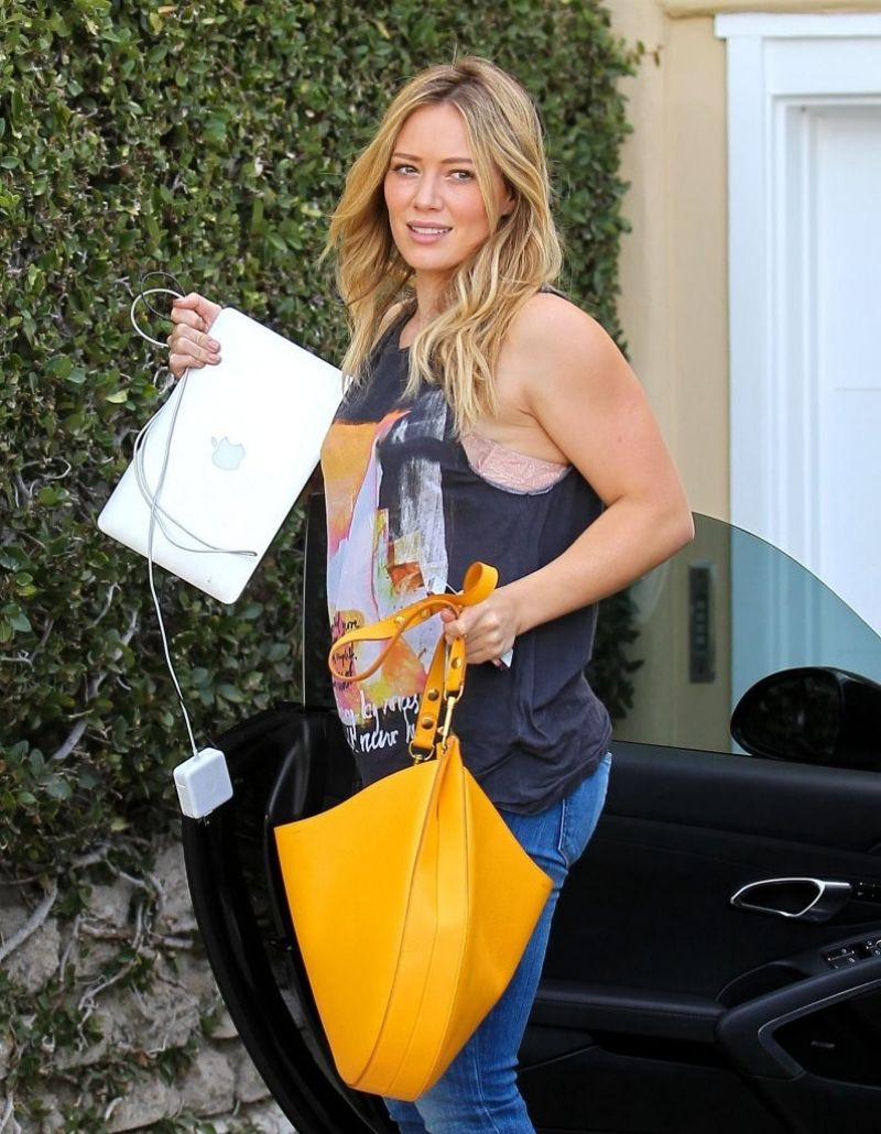 Hilary Duff in Jeans - Heads to the Recording Studio, January 2014