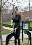 Imogen Thomas Gym Style - Outdoor Workout - January 2014