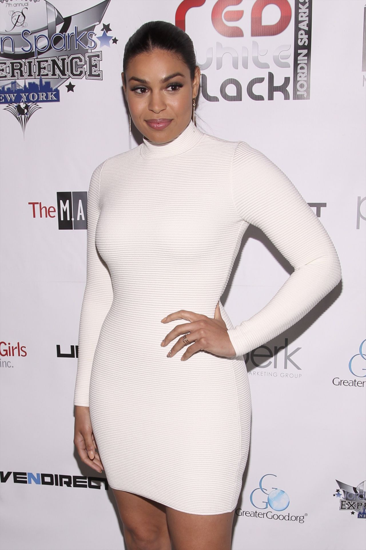 Jordin Sparks in White Dress at Welcome to New York Red, White and Black Super Bowl Party in New York