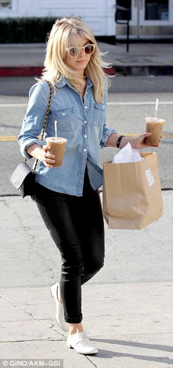 Julianne Hough Street Style - Out for Coffee in Beverly Hills - January 2014