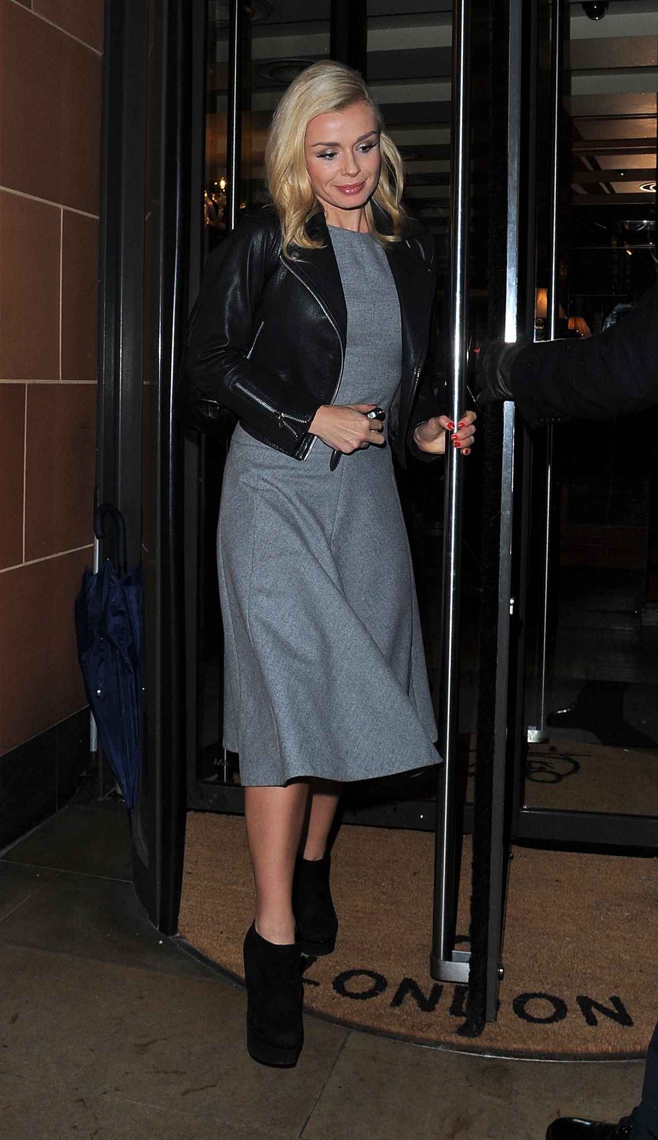 Katherine Jenkins Night Out Style - Leaving Cipriani Restaurant in Mayfair, London, Jan. 2014