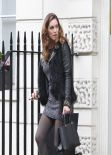Kelly Brook Street Style - in Short DressTights Leaving Her House - January 7 2014