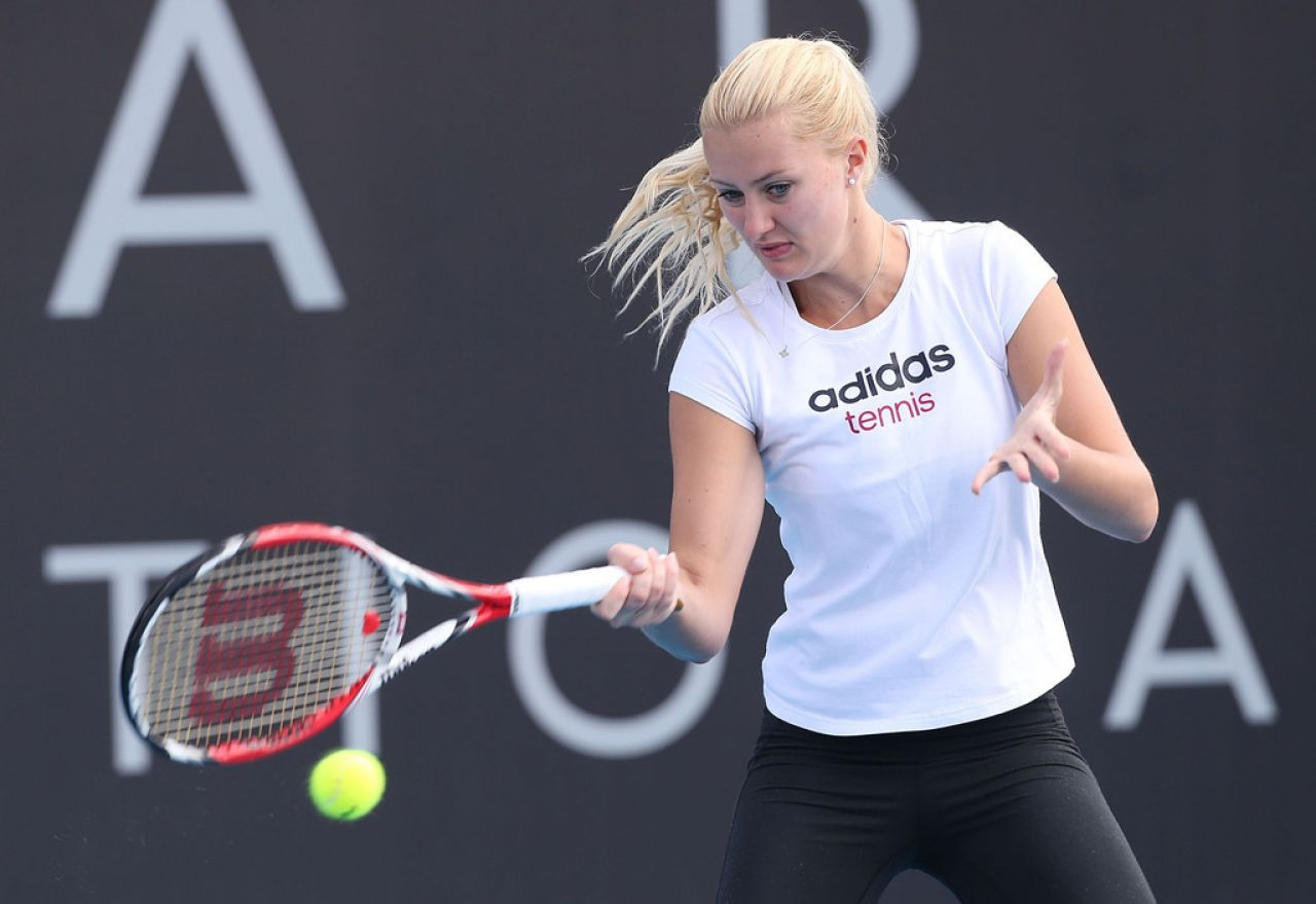 Kristina Mladenovic - Professional French/Serbian Tennis Player Practice Session in Hobart - Jan. 2014
