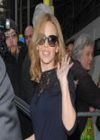 Kylie Minogue Street Style - BBC Radio 1 Studios in London, January 2014