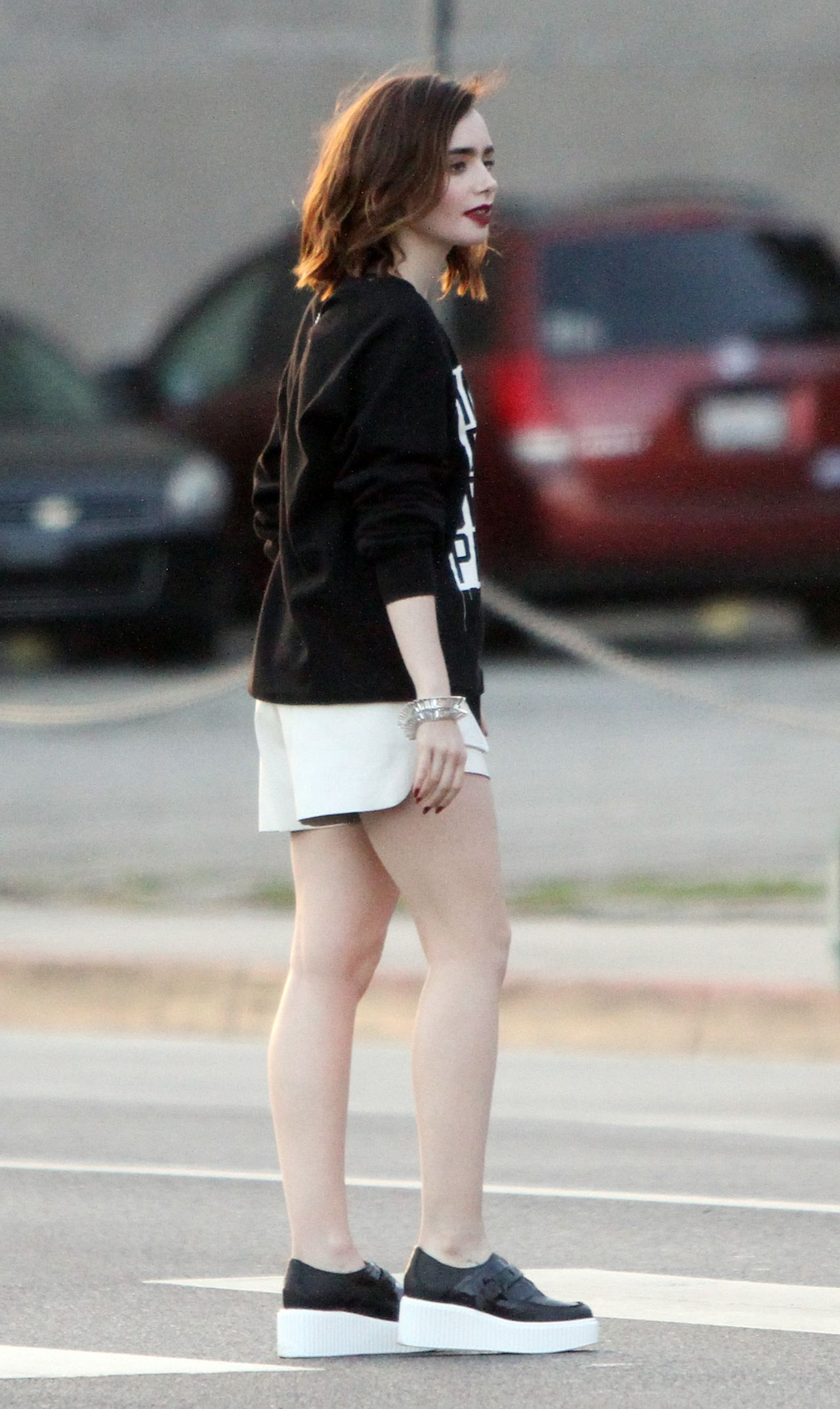 Lily Collins Photoshoot On Sunset Boulevard In Los Angeles