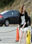 Lily Collins Photoshoot on Sunset Boulevard in Los Angeles, January 2014