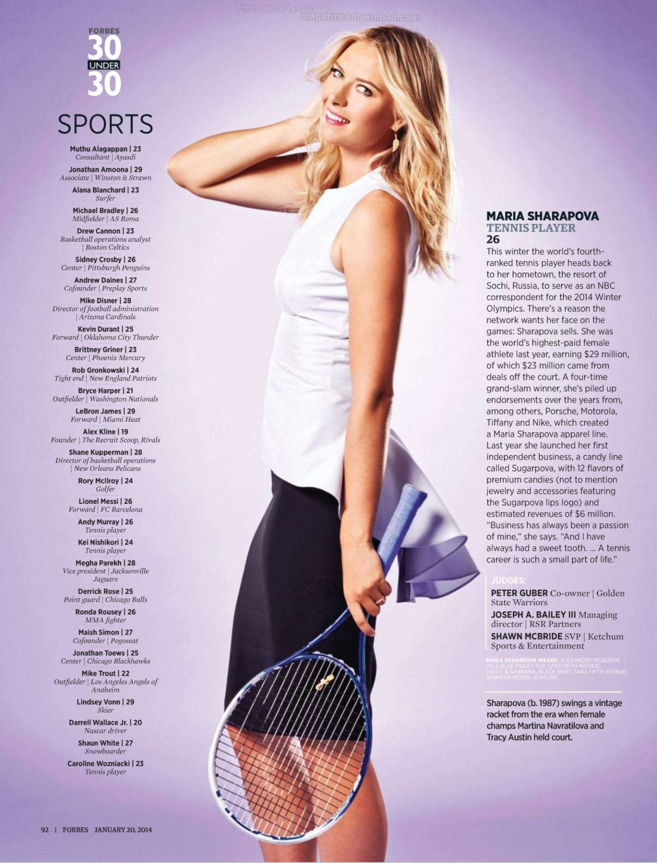 Maria Sharapova - Forbes 30 under 30 - 2014
