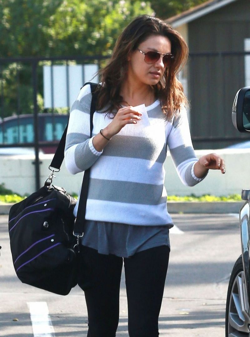 Mila Kunis Street Style -  in Spandex Out in LA, January 2014